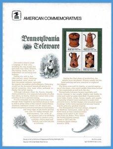 USPS COMMEMORATIVE PANEL #110 PENNSYLVANIA TOLEWARE #1775-78