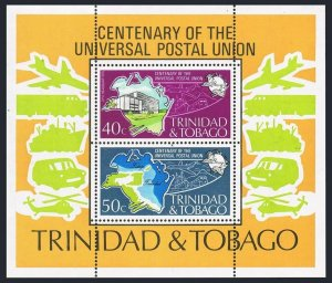 Trinidad & Tobago 244a sheet,MNH. UPU-100,1974.Map,Mail transport.Helicopter.