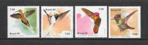 BIRDS - BRAZIL #1739-42  HUMMINGBIRDS  MNH