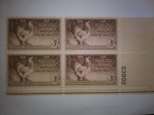SCOTT # 968 POULTRY INDUSTRY ISSUE PLATE BLOCK MINT NEVER HINGED 1948 GEM