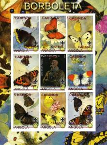 Cabinda (Angola) BUTTERFLIES-SCOUTS-ROTARY Sheet Imperforated mnh.vf
