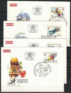 Austria, Scott cat. B335-B338. Innsbruck Winter Olympics. 4 First day covers.