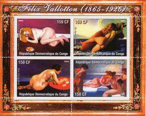 Congo 2004 Felix Vallotton Famous Nudes Paintings Sheetlet (4) MNH