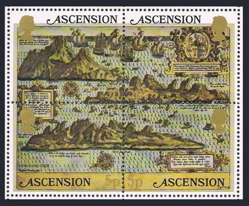 Ascension 289 ad block,MNH.Michel Bl.12. Maps of Island,Sailing Ships.1981