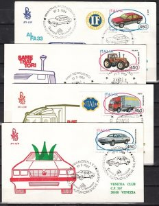 Italy, Scott cat. 1580-1583. Italian Made Autos on 4 First day covers. ^