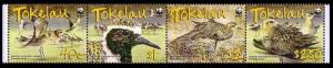 Tokelau Birds WWF Pacific Golden Plover Strip of 4v SG#382-385 MI#368-371