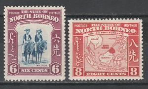 NORTH BORNEO 1939 PICTORIAL 6C AND 8C