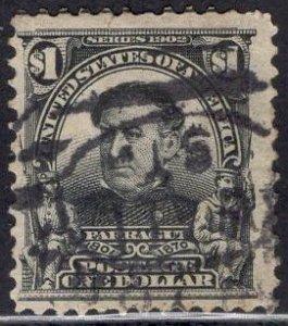 US Stamp #311 $1 Black Farragut USED SCV $90