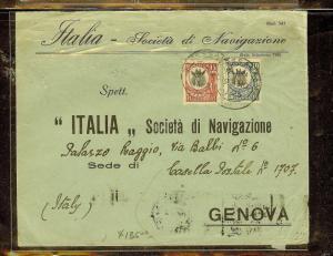 TANGANYIKA (P0210B) GIRAFFE 1925 15C+10C  COVER TO  ITALY