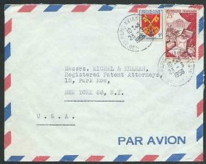 FRANCE 1956 Airmail cover to USA - nice franking...........................58115