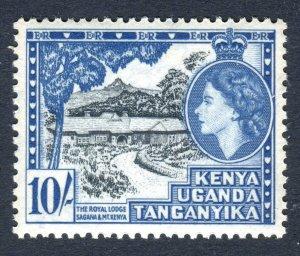 KUT 1954 QEII. 10s stamp. Mint (NH). SG179.
