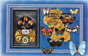 Guyana 1995 Butterflies/Scouts/Chess/Jamboree ovpt.BLUE Silver SS Perforated MNH