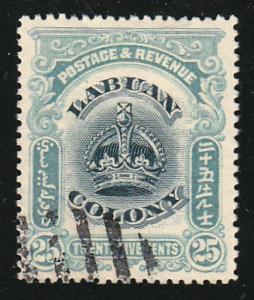 Labuan 25c Greenish Blue, Black Crown (Scott #107a) Used