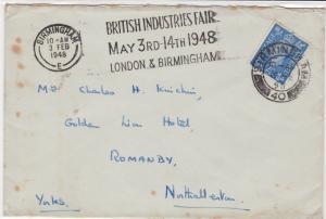 Great Britain 1948 British Industries Birmingham cancel stamps cover ref 21807