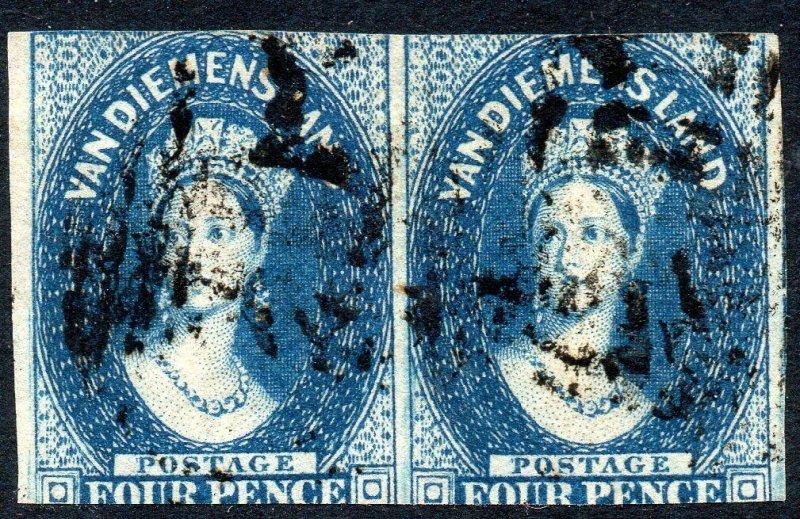 1855 Tazmania Sg 18 4d Bleu Fin D'Occasion Paire