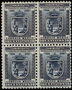 MEXICO 722, 10¢ Arms of Chiapas. Block of four. Mint NH. F-VF. (380)