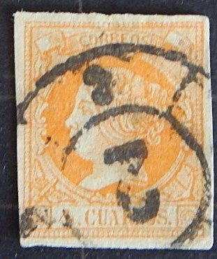 Spain, 1860, Queen Isabella II - Colored Paper, YT #48, (1645-T)