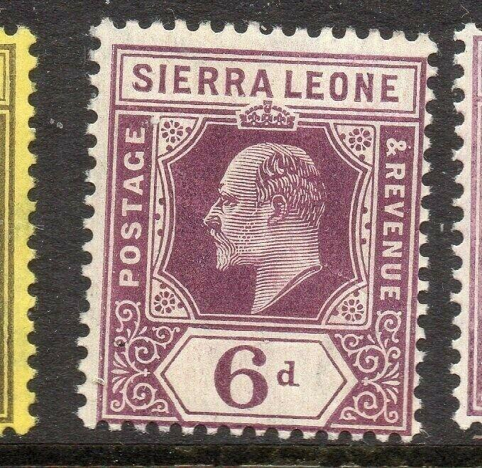 Sierra Leone 1907-10 Early Issue Fine Mint Hinged 6d. 303550