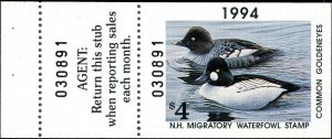 NEW HAMPSHIRE #12A 1994 STATE DUCK HUNTER STAMP COMMON GOLDENEYES by Frisino