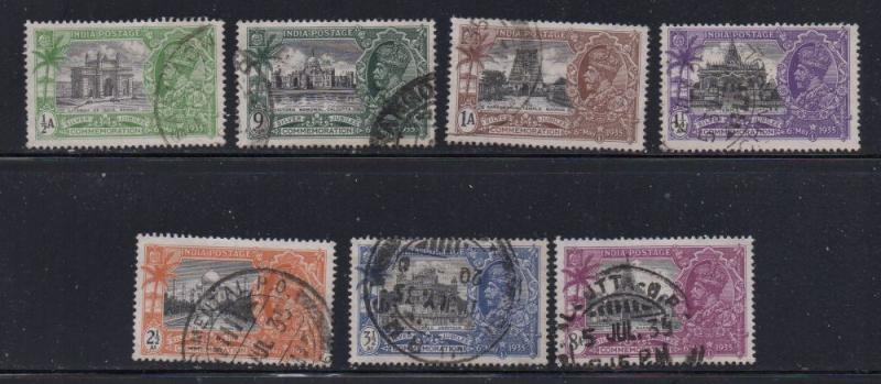 India Sc 142-8 1935 Silver Jubilee George V stamp set used