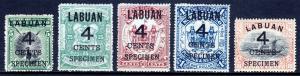 LABUAN — SG 102s//110s — 1899 4¢ SURCHARGE SPECIMENS — MH — SG £103