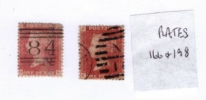 Great Britain 1858-79 Victoria Penny Reds (Plates 166 & 198) [Used]