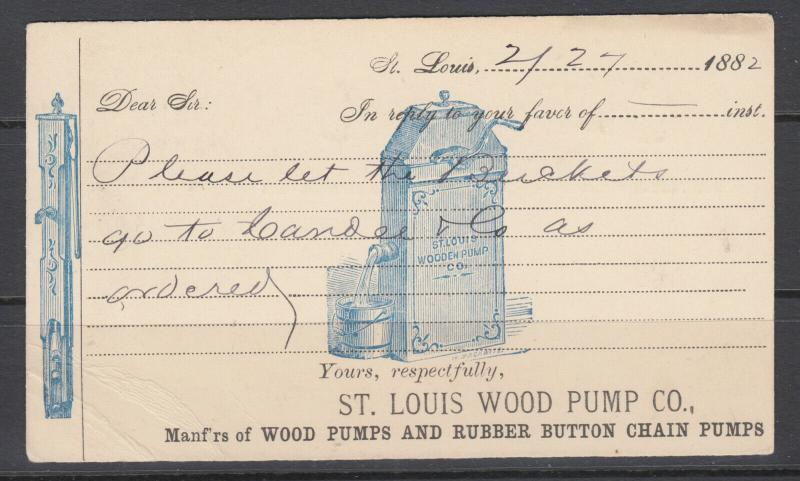 US, UX5 used. 1882 Illustrated Advertising Card, St. Louis Wood Pump Co.
