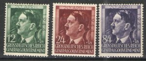 Germany - Occupation Poland 1944 Sc# NB33-35 MH VG/F - Hitler 55th Bday
