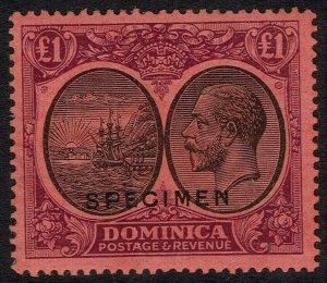 DOMINICA 1923 KGV SHIP SPECIMEN 1 POUND