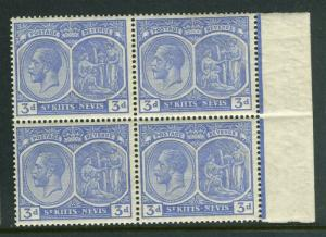 ST.KITTS NEVIS; 1921-29 early GV Mult. Sc. issue Mint hinged 3d. Block
