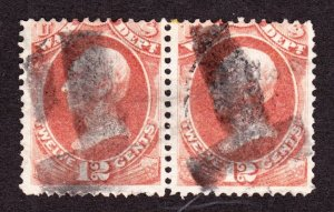 US O89 12c War Department Used Pair w/ Bold T Fancy Cancels