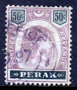 Malaya (Perak)  - Scott #55 - Used - Fiscal cancel - Crease - SCV $45.00