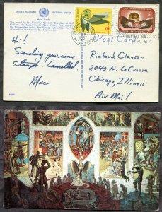 3989 - UNITED NATIONS New York - 1967 Slogan Cancel on Interior Mural Postcard