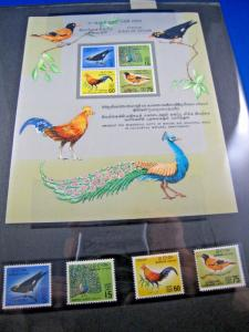 CEYLON - SCOTT # 374, 375, 377, 378, 378A  - BIRDS  - MNH