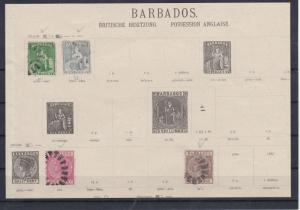 Barbados Early Stamps On Port Album Page Ref: R8089