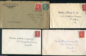 CANADA KING GEORGE V ERA LOT OF FOUR COVERS ADDRESSED TO TORONTO AS SHOWN