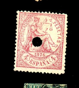 SPAIN #209 USED FINE PUNCHED HOLE Cat $410  Cat $410