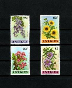 ANTIGUA - 1978 - FLOWERS - FRANGIPANI - SUNFLOWER - PASSION + MINT - MNH SET!