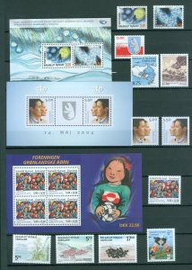 Greenland. 2004 Lot. MNH. 18 Stamps. 3 Souvenir Sheet.