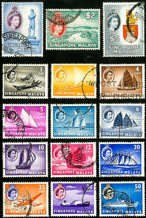 Singapore Stamps # 28-42 Used XF