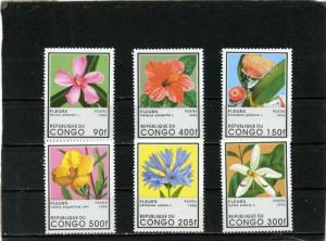 CONGO 1996 Sc#1109-1114 FLORA FLOWERS SET OF 6 STAMPS MNH