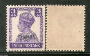 India CHAMBA State 3As Postage Stamp LITHOGRAPH KG VI SG 114 / Sc 95 Cat £27...