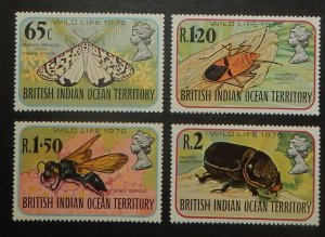 British Indian Ocean Territory 86-89. 1976 Insects