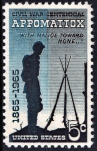SC#1182 5¢ Civil War Centennial Issue: Appomattox (1965) MNH