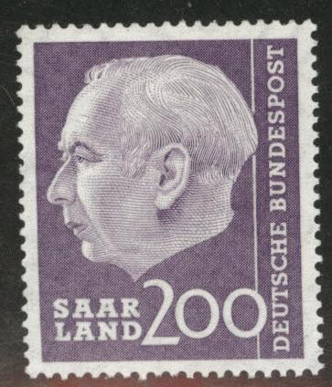 Saar Scott 282 MNH** key 200fr 1957 stamp