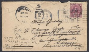SARAWAK 1923 6c tied by Kuching cds to Canada via Singapore, fwd to USA