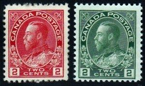 Canada #106-107 F-VF King George V. MNH OG CV $125