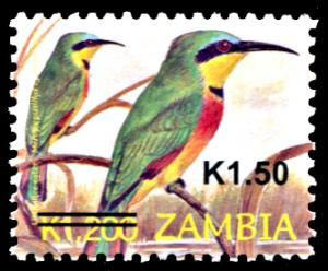 Zambia 1143, MNH, Little Bee-eater Surcharge, difficult to find