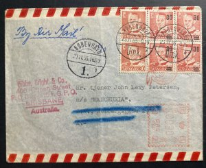 1955 Copenhagen Denmark Airmail Meter Cancel Cover To Brisbane Australia