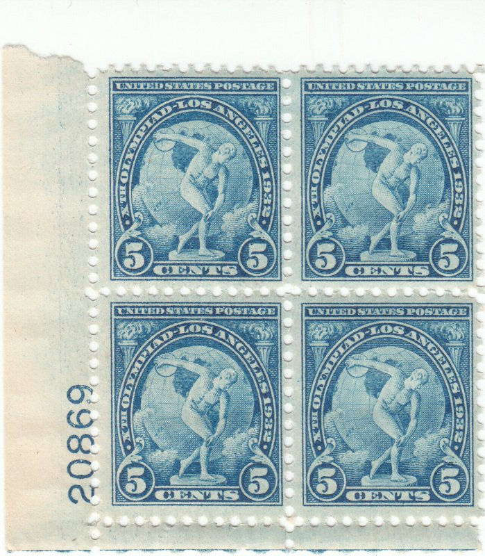 Scott # 719 - 5c Blue - plate block of 4 - MNH - SCV $27.50